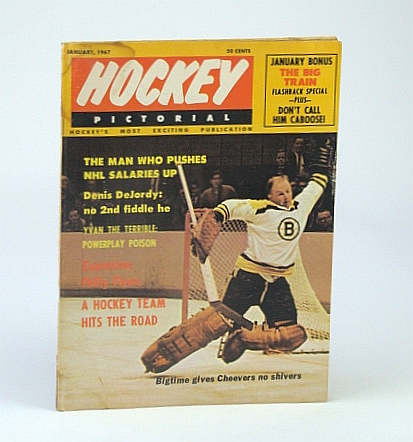 Image for Hockey Pictorial Magazine, January (Jan.) 1967, Vol. 12, No. 4 - Action Cover Photo of Gerry Cheevers Without Mask