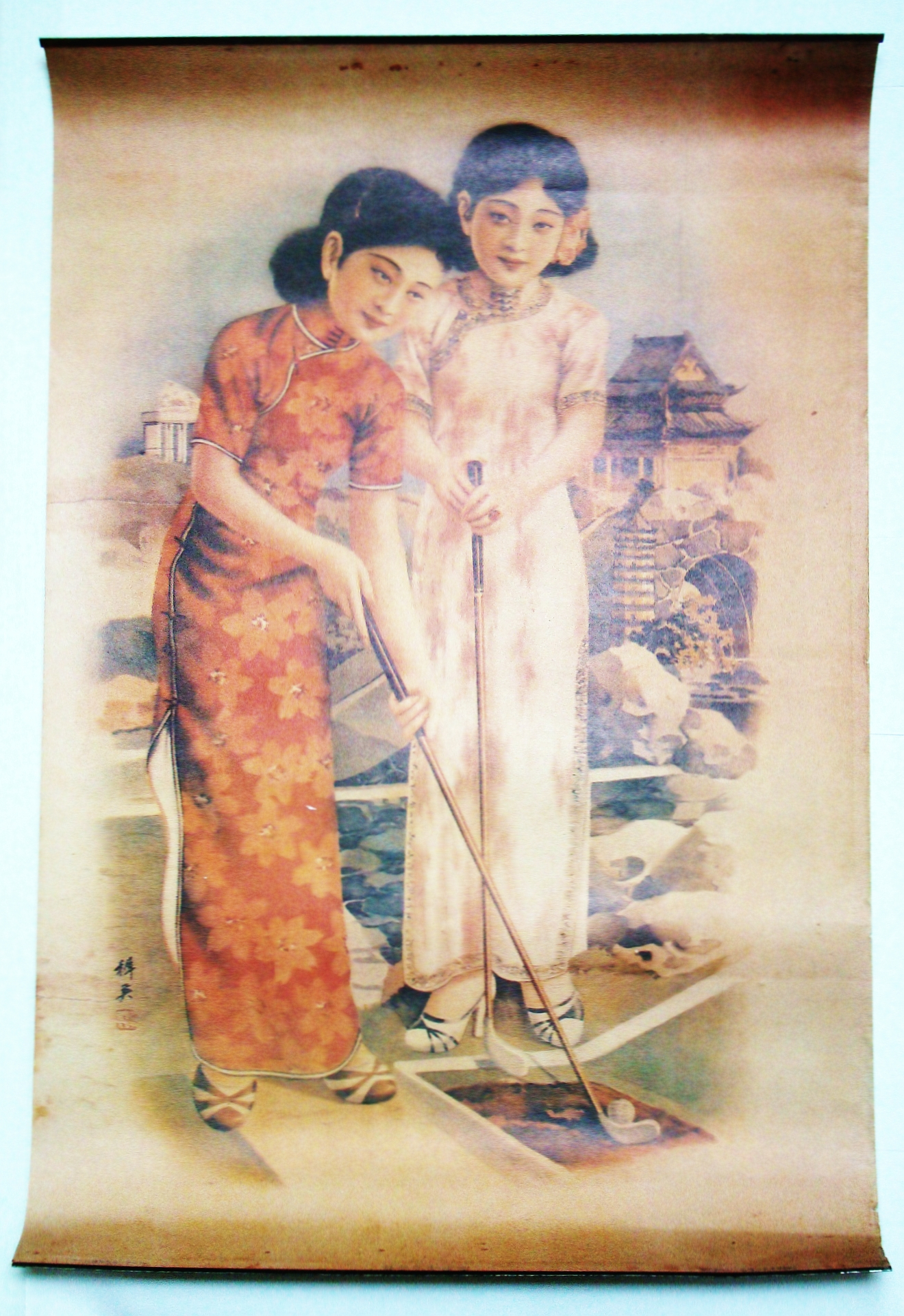 Image for Chinese / Shanghai Replica Advertising Poster Featuring Two Young Lovelies Playing Mini-Golf
