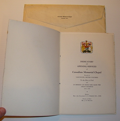 Image for Official Program for Dedicatory and Opening Services of Canadian Memorial Chapel Erected at Vancouver, British Columbia in Memory of Those Who Made the Great Sacrifice 1914-1918