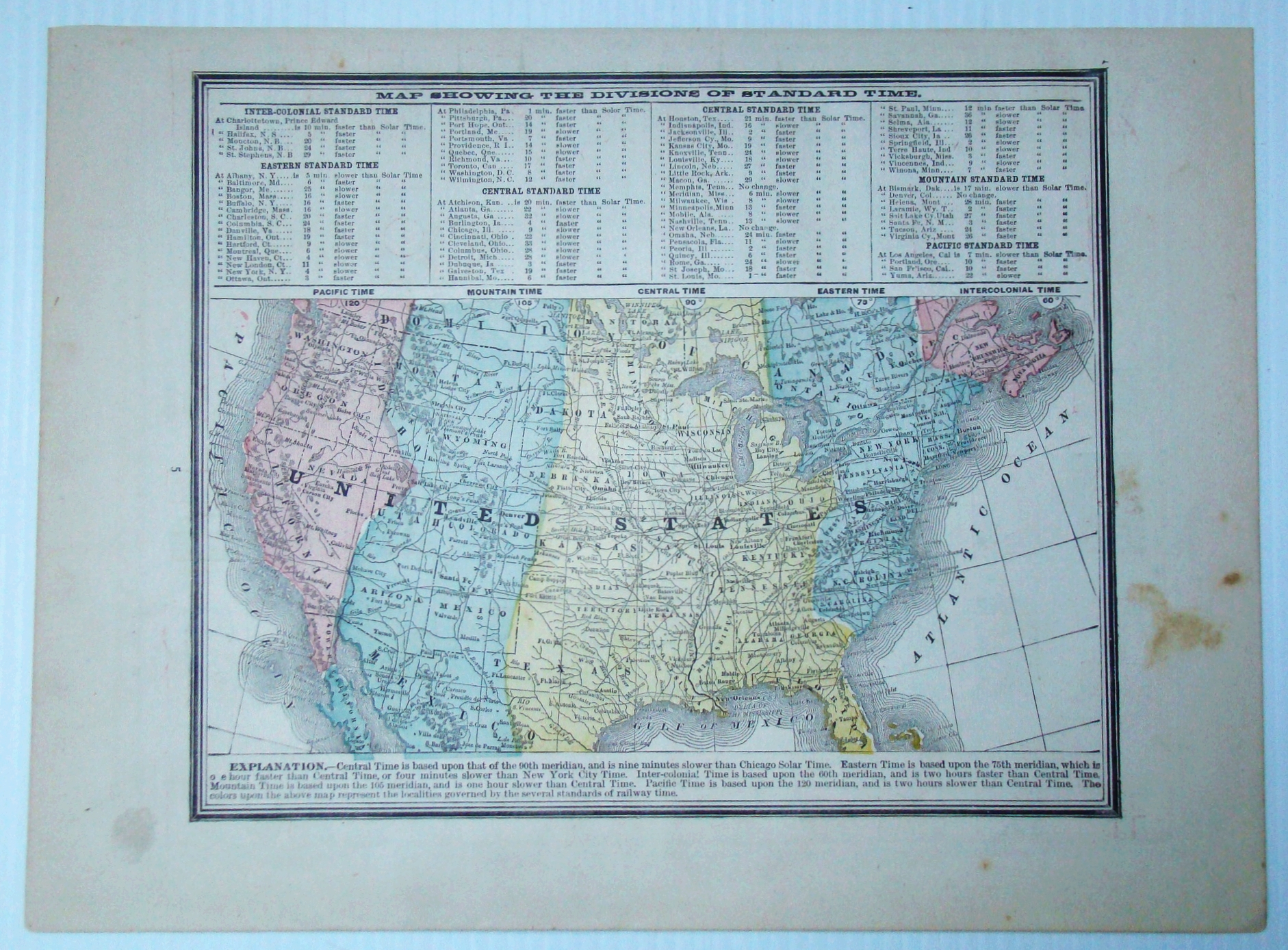 Image for 1889 Color Map of the Lower 48 States of the United States (U.S.A.) Indicating Divisions of Standard Time