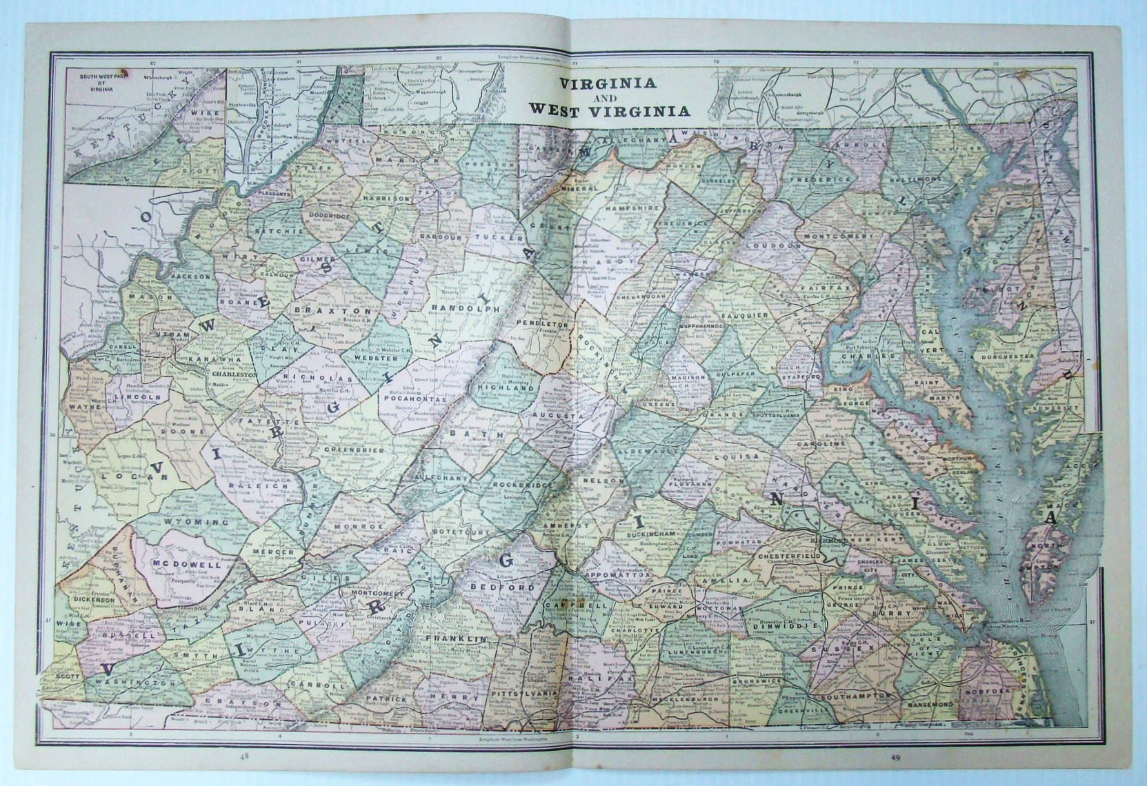 Image for 1889 Color Map of the States of Virginia and West Virginia
