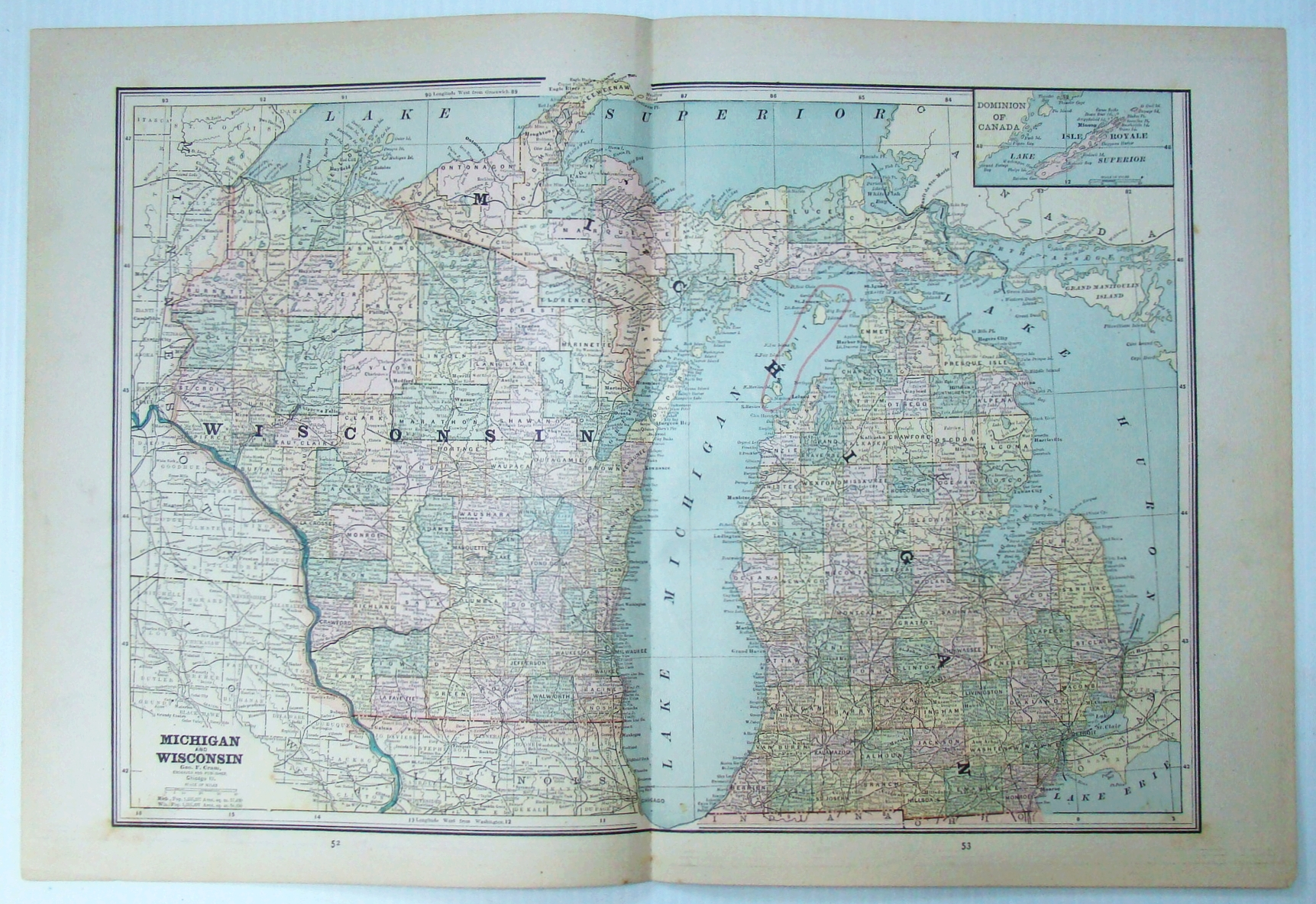 Image for 1889 Color Map of Wisconsin and Michigan