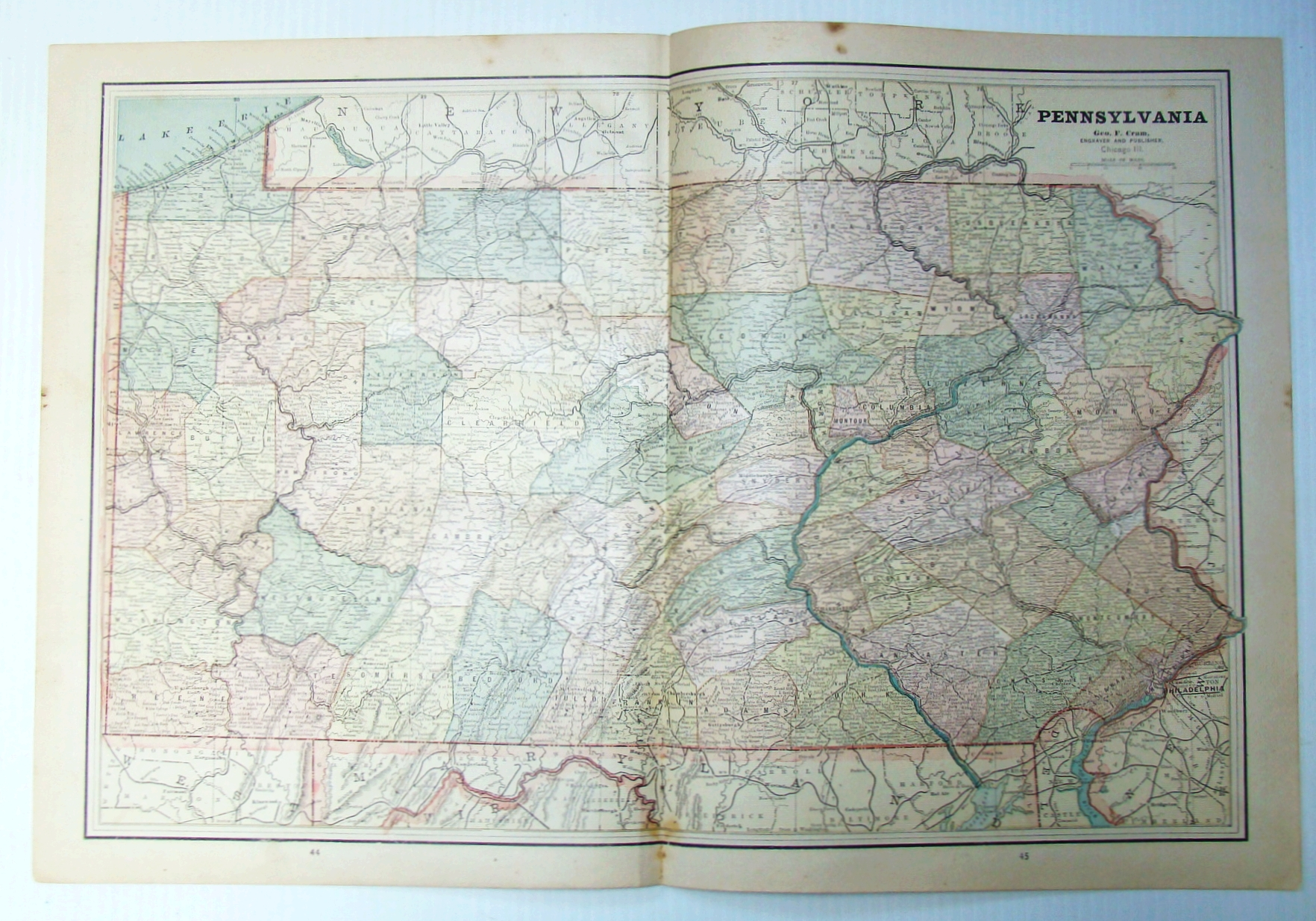 Image for 1889 Color Map of the State of Pennsylvania