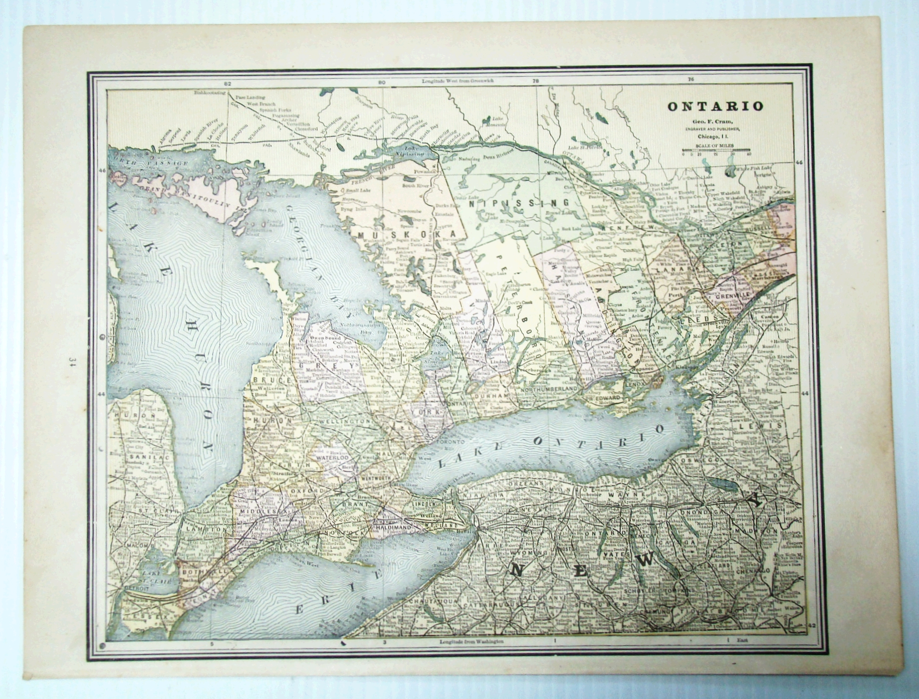 Image for 1889 Colour Map of the Province of Ontario, Canada