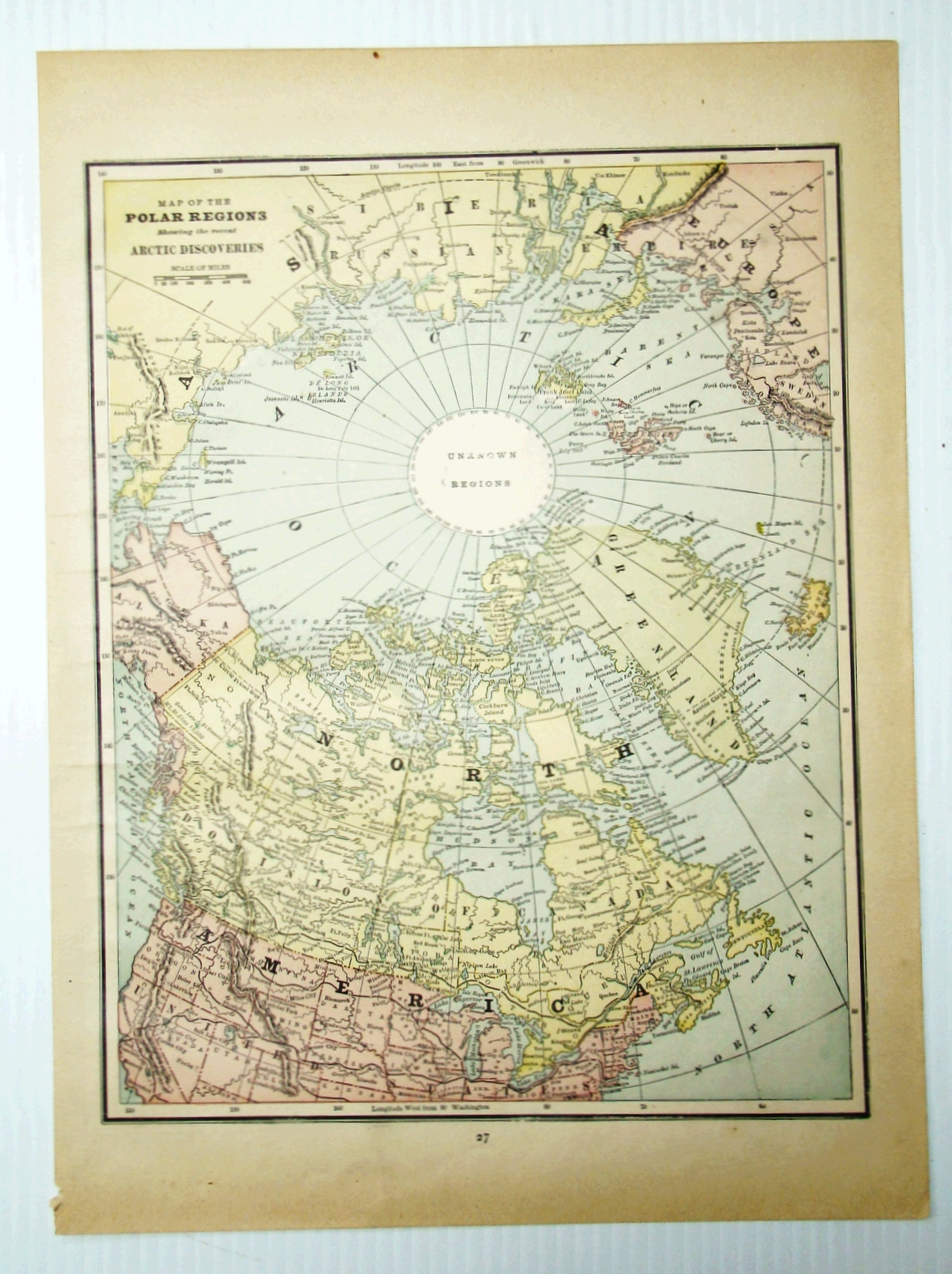 Image for 1889 Color Map of the (North) Polar Regions - Showing the Recent Arctic Discoveries