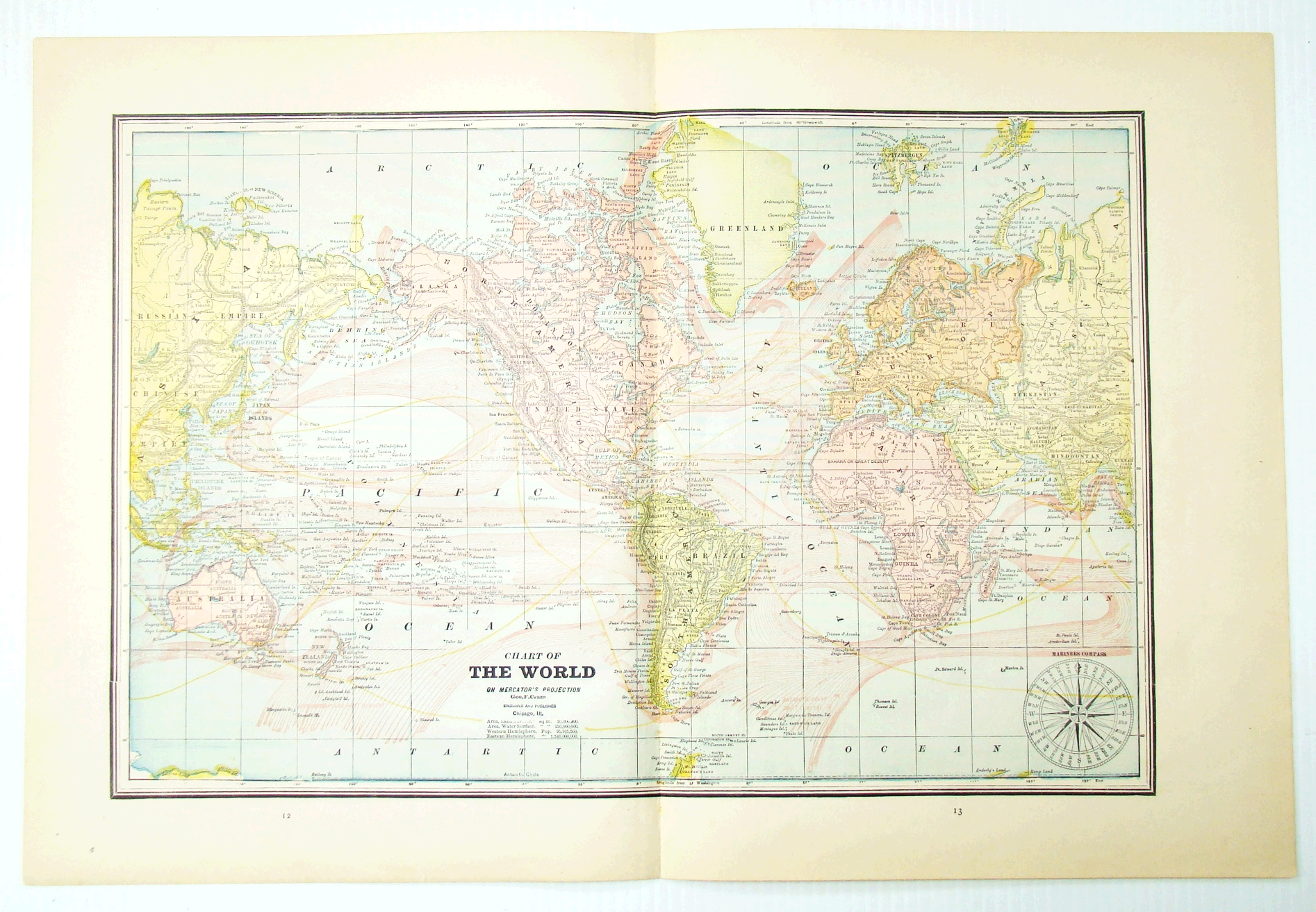 Image for 1889 Color Chart (Map) of the World on Mercator's Projection