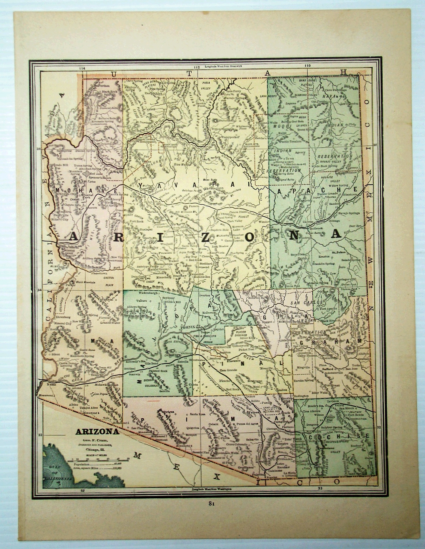 Image for 1889 Color Map of the State of Arizona