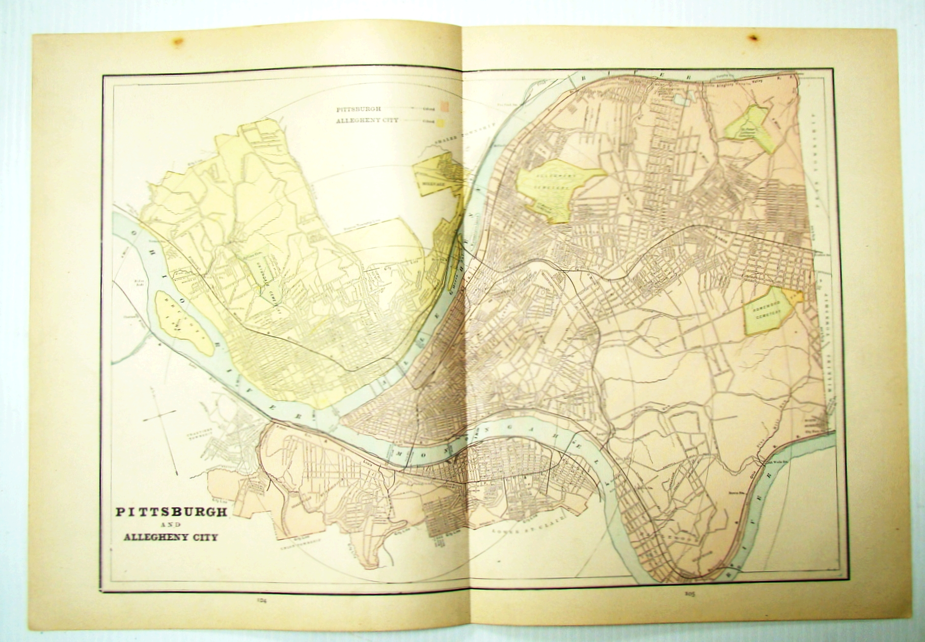 Image for 1889 Color Map of Pittsburgh, Pennsylvania (PA) and Allegheny City