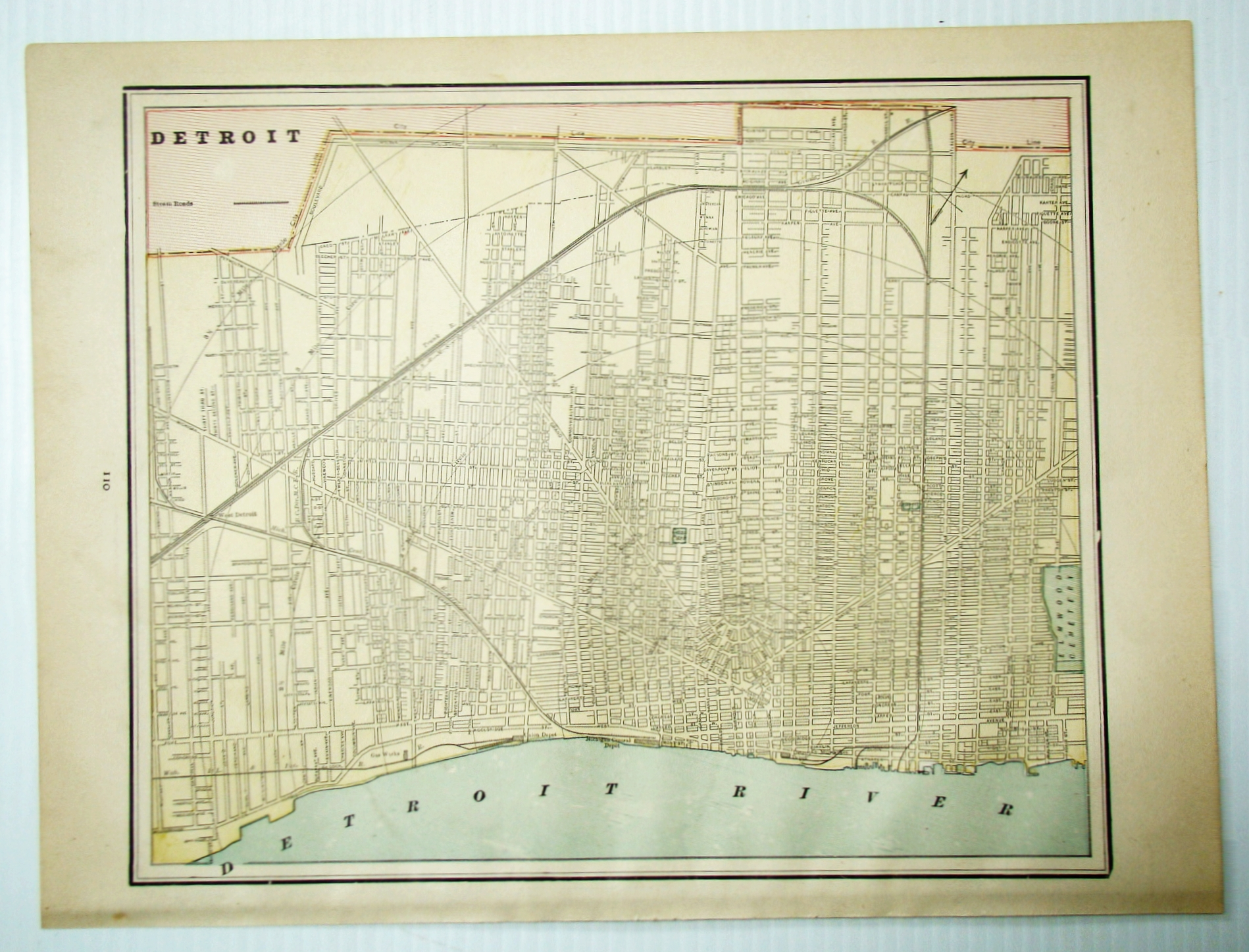 Image for 1889 Color City Map of Detroit, Michigan (MI)