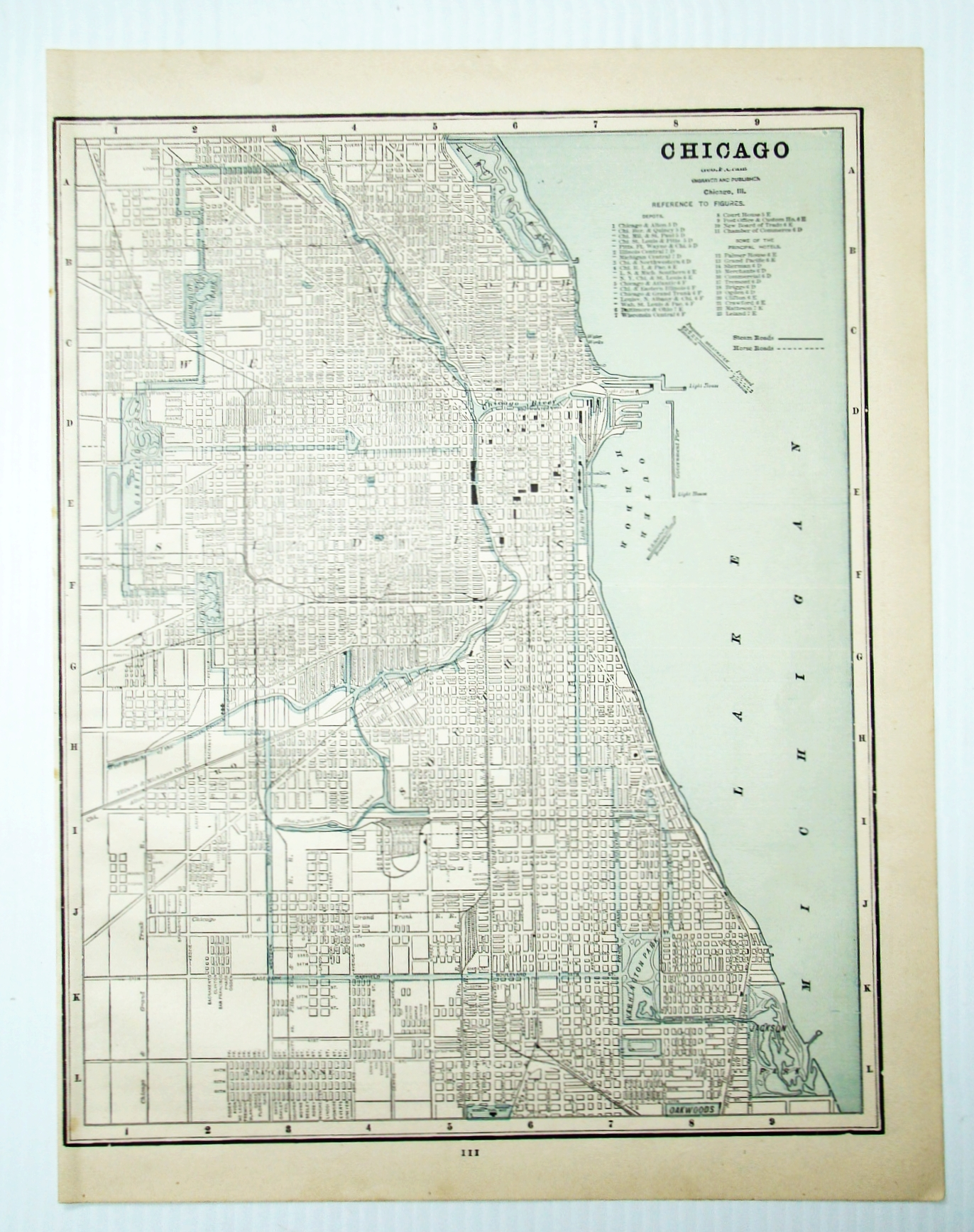 Image for 1889 Color City Map of Chicago, Illinois (IL)