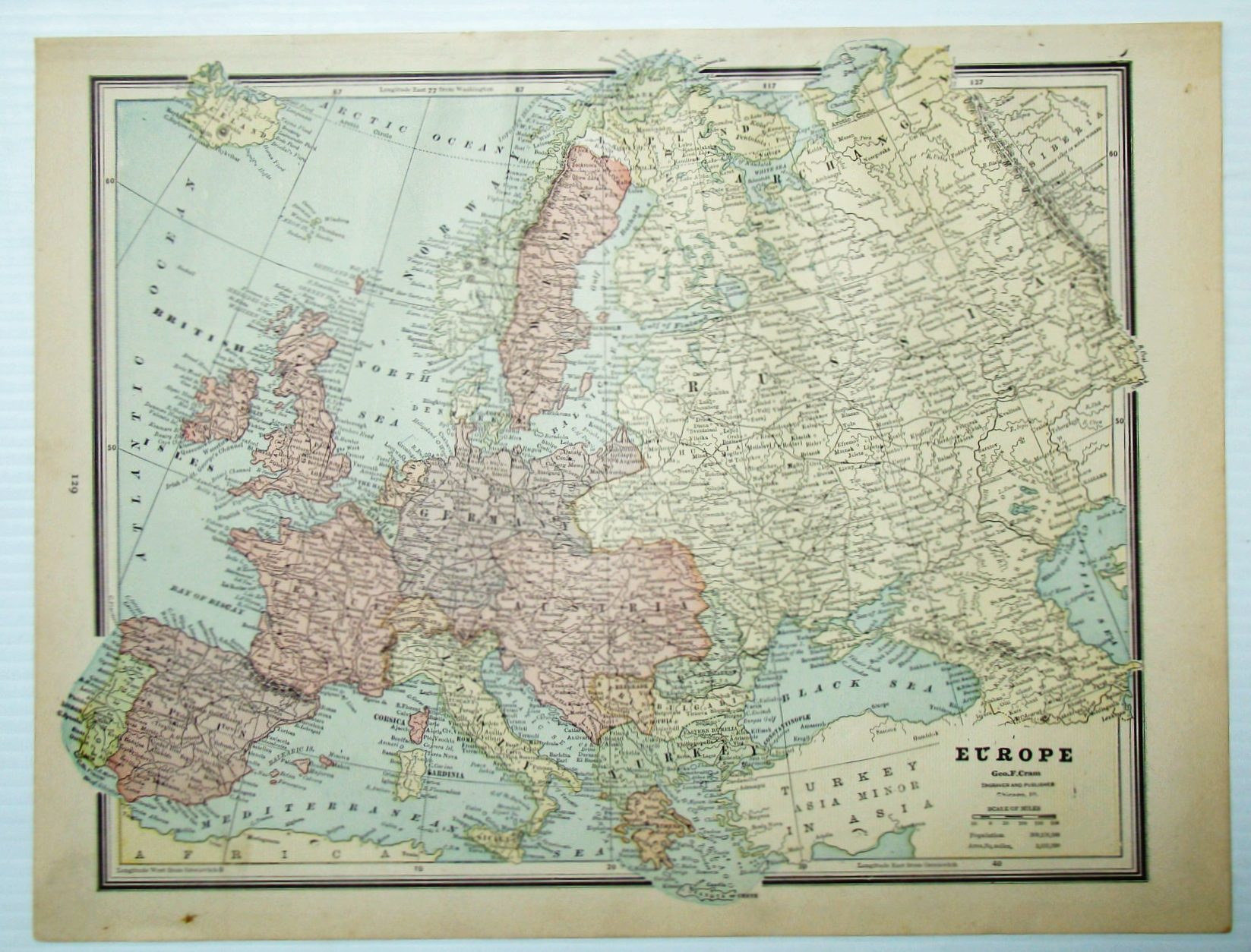 Image for 1889 Color Map of Europe