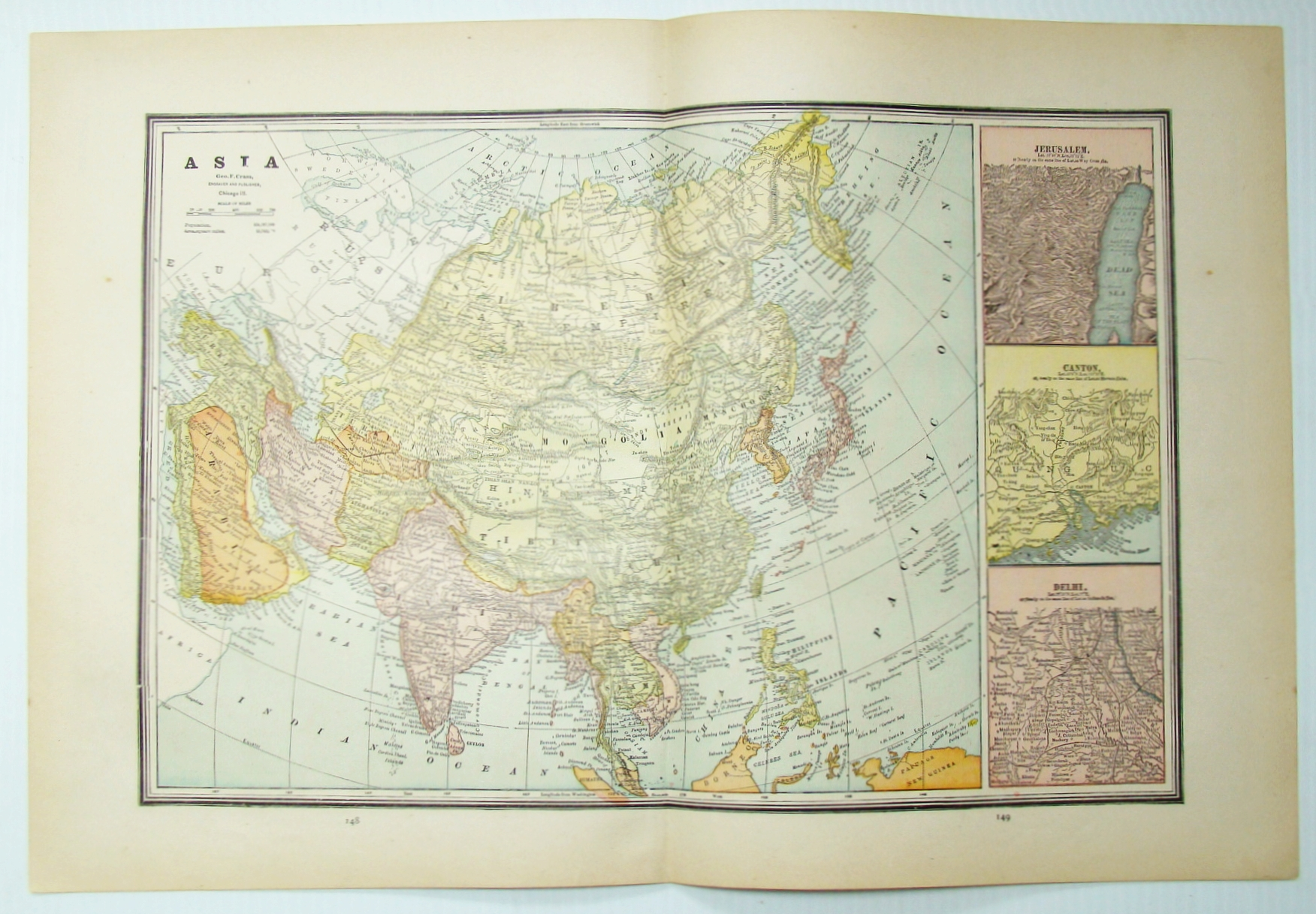 Image for 1889 Color Map of Asia, Including Expanded Views of Jerusalem, Canton and Delhi