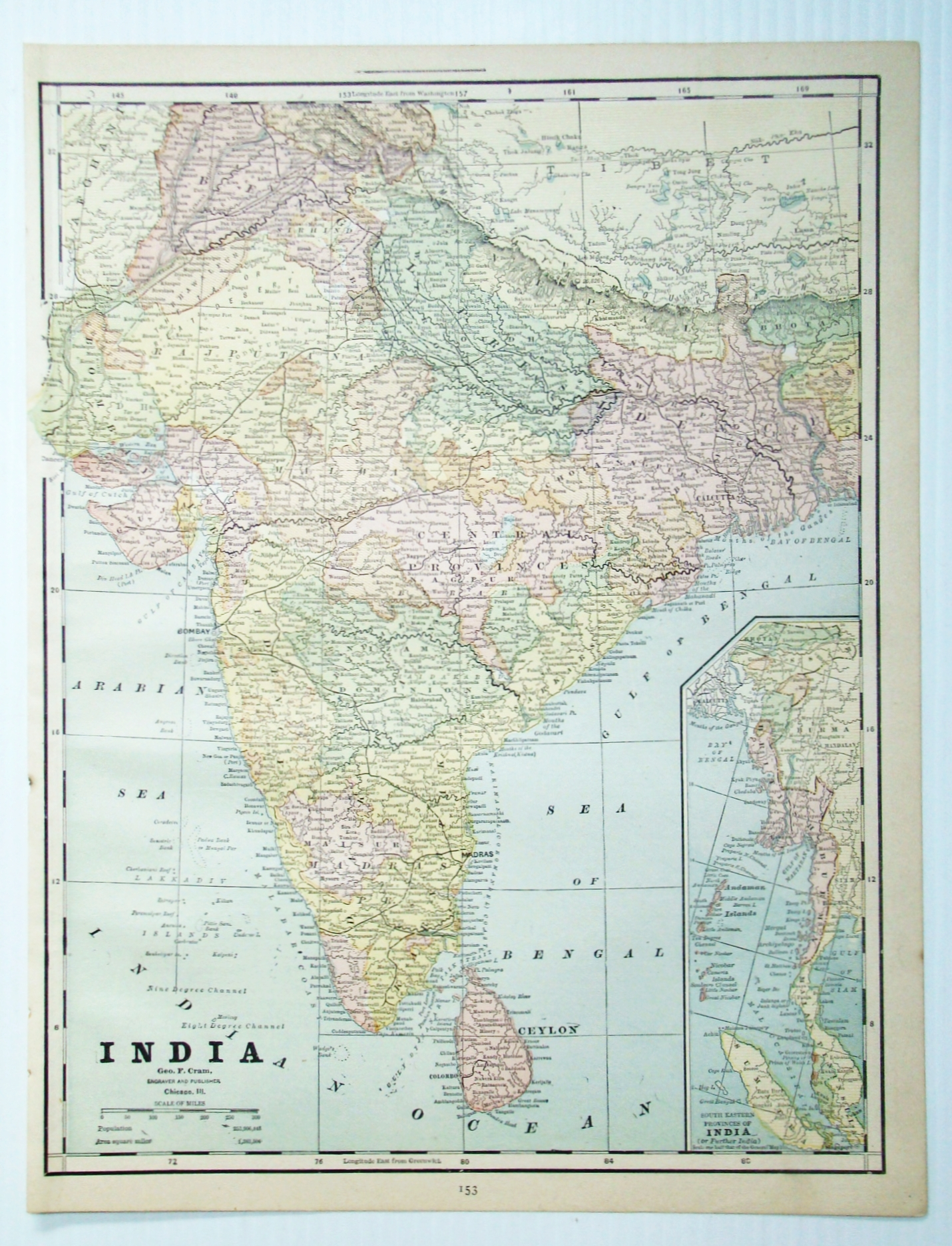 Image for 1889 Color Map of India