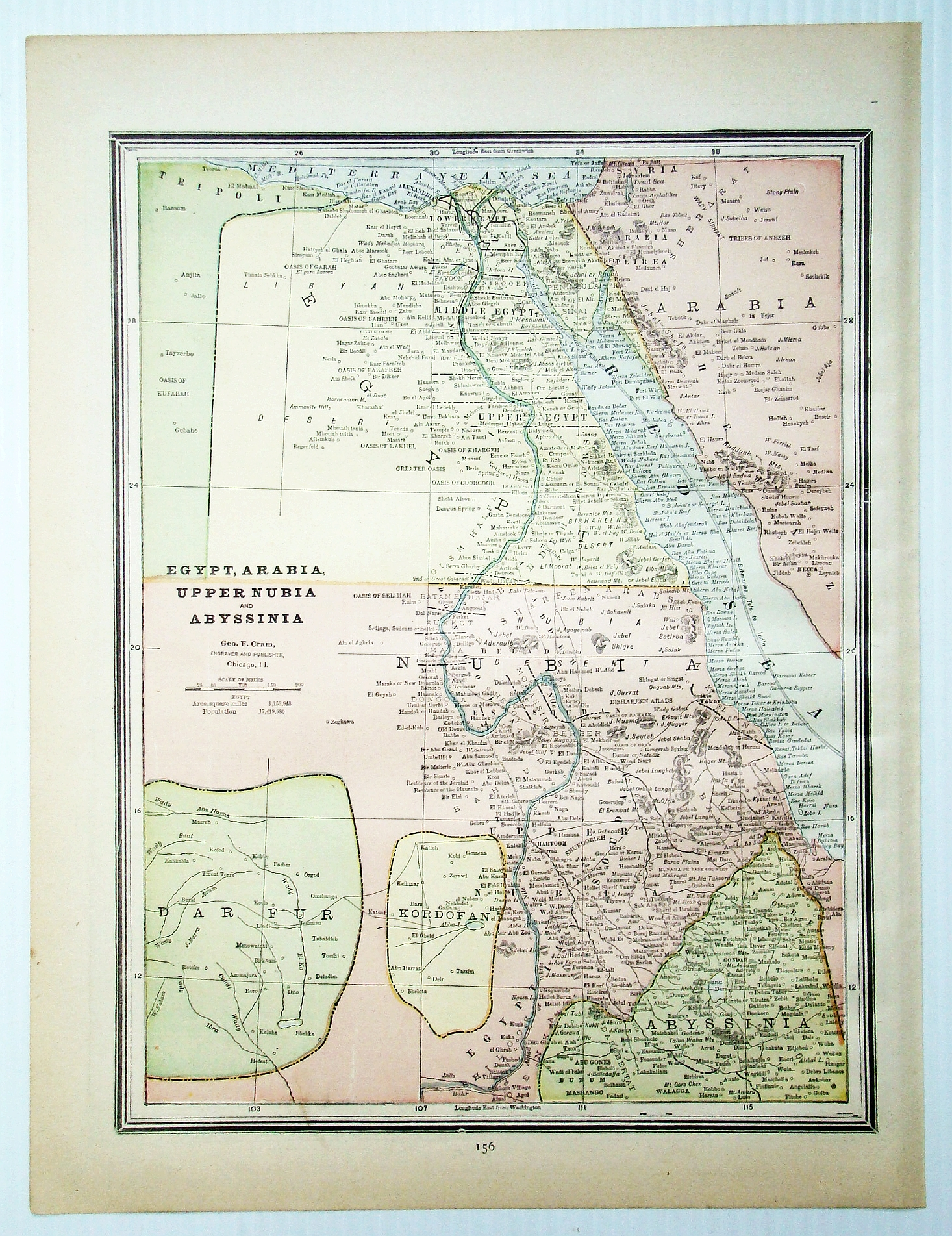 Image for 1889 Color Map of Egypt, Arabia, Upper Nubia and Abyssinia