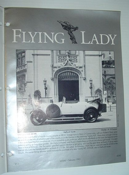 Image for Flying Lady - The Periodical of the Rolls-Royce Owner's Club, Inc., January/February 1991