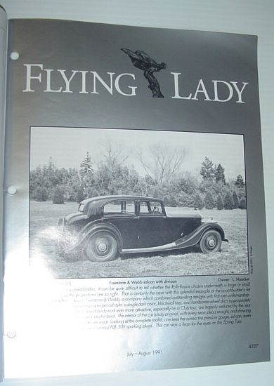 Image for Flying Lady - The Periodical of the Rolls-Royce Owner's Club, Inc., July/August 1991