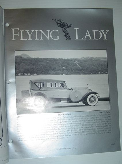 Image for Flying Lady - The Periodical of the Rolls-Royce Owner's Club, Inc., January/February 1992