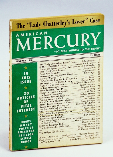 "Image for American Mercury Magazine, ""To Bear Witness To The Truth"", January (Jan.) 1960, Volume XC No. 432 - The ""Lady Chatterley's Lover"" Case"