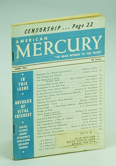 "Image for American Mercury Magazine, ""To Bear Witness To The Truth"", June 1961, Volume XCII No. 448 - Is Censorship On The Way? / Blueprint for World Government / Deluge of Filth"