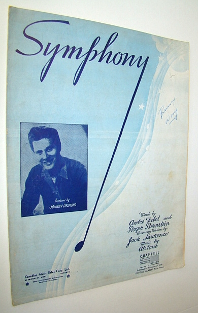 Image for Symphony - Sheet Music for Voice and Piano: Cover Illustration of Johnny Desmond