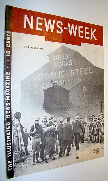 "Image for News-week (Newsweek) Magazine, July 17, 1937 - Cover Photo of ""The Walk-In"": Anti-Unionists Enter Republic Steel's Upson Works Under Protection of National Guard Guns"