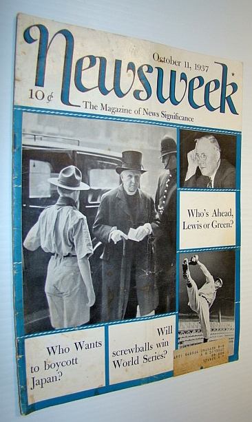 Image for Newsweek Magazine, October 11, 1937