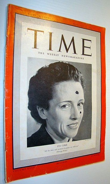 Image for Time Magazine, February 12, 1940 - Eve Curie Cover Photo