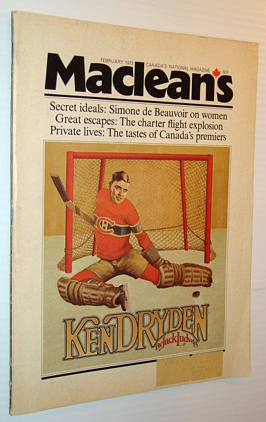 Image for Maclean's - Canada's National Magazine, February 1973 - Ken Dryden Cover Illustration