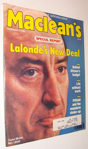 Image for Maclean's Magazine, November 8, 1982 *Marc Lalonde's New Deal*