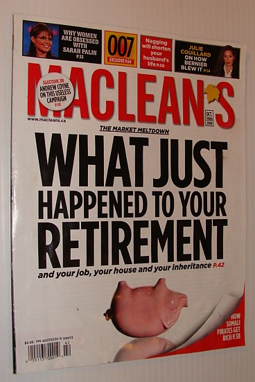 Image for Maclean's Magazine, October 20th, 2008 *THE MARKET MELTDOWN*