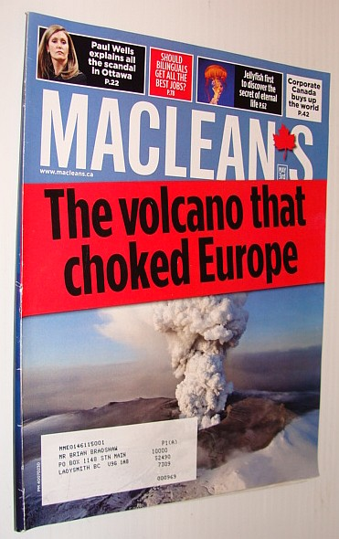 Image for Maclean's Magazine, May 3 2010 *ICELAND VOLCANO CHOKES EUROPE*