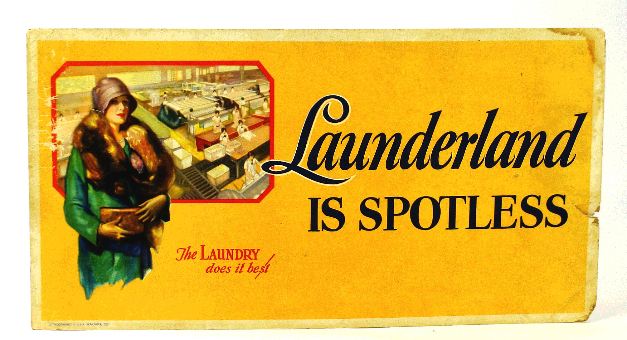 "Image for ""Launderland is Spotless"" - Vintage Laundry Advertising Poster From the Roaring Twenties"