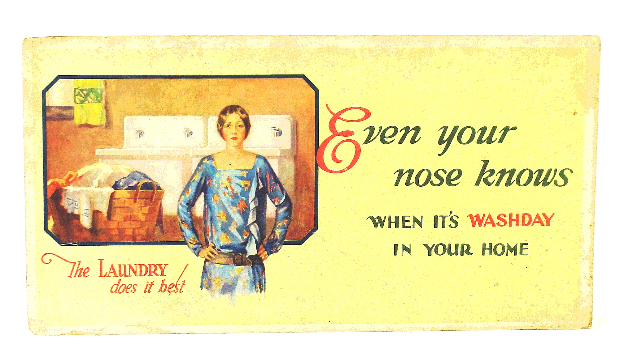 "Image for ""Even Your Nose Knows When It's Washday In Your Home"" - Vintage Laundry Advertising Poster From the Roaring Twenties"