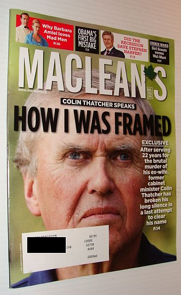 Image for Maclean's Magazine 31 August 2009 *Colin Thatcher Claims He Was Framed*