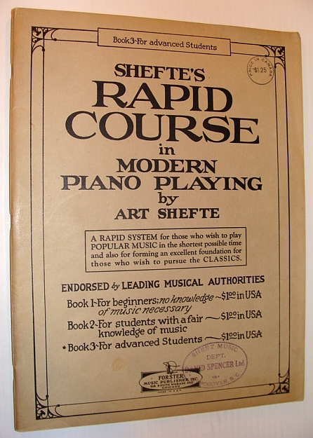 Image for Shefte's Rapid Course in Modern Piano Playing - Book 3 (Three) for Advanced Students