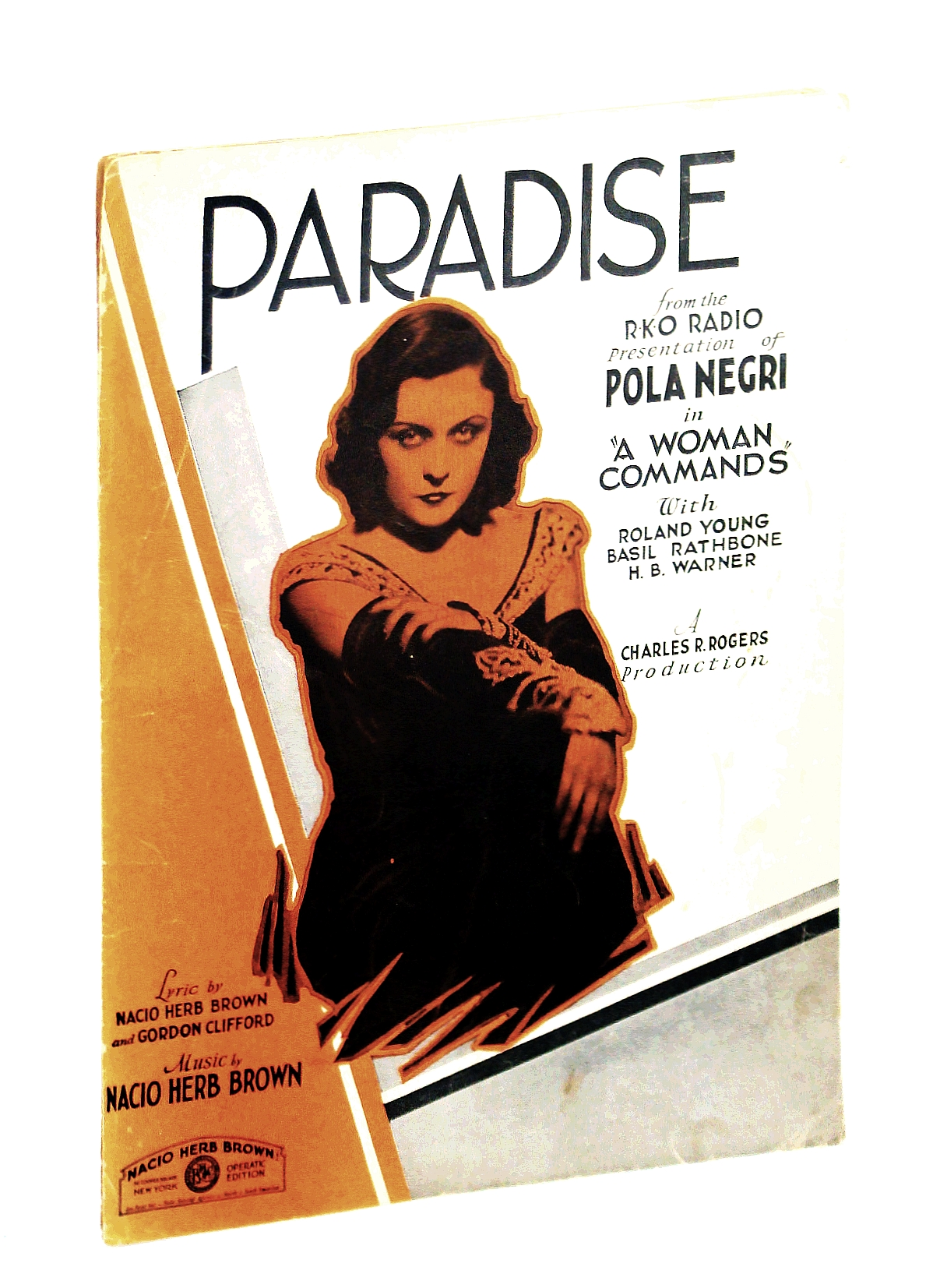Image for PARADISE (1931 Nacio Herb Brown and Gordon Clifford SHEET MUSIC) excellent condition from the film A WOMAN COMMANDS with Pola Negri (pictured!)
