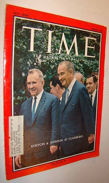 Image for Time Magazine, June 30, 1967 - Kosygin and LBJ Photo on Cover