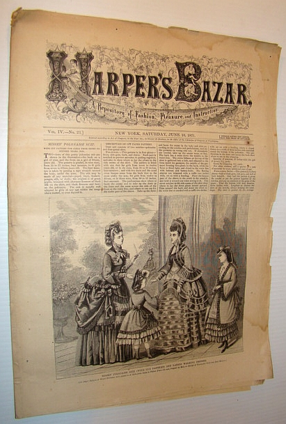 Image for Harper's Bazar (Bazaar), June 10, 1871 - A Repository of Fashion, Pleasure, and Instruction