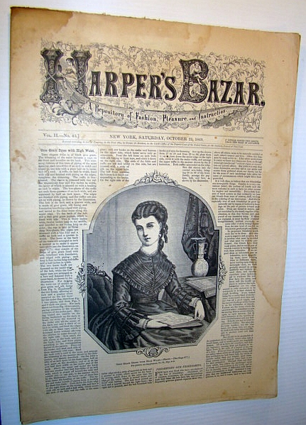 Image for Harper's Bazar (Bazaar), October 23 1869 - A Repository of Fashion, Pleasure, and Instruction