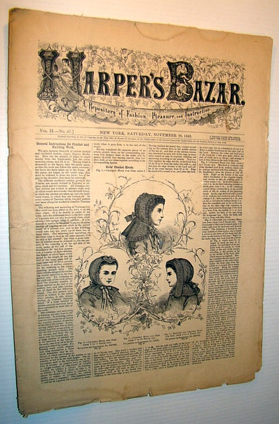 Image for Harper's Bazar (Bazaar), November 20, 1869 - A Repository of Fashion, Pleasure, and Instruction