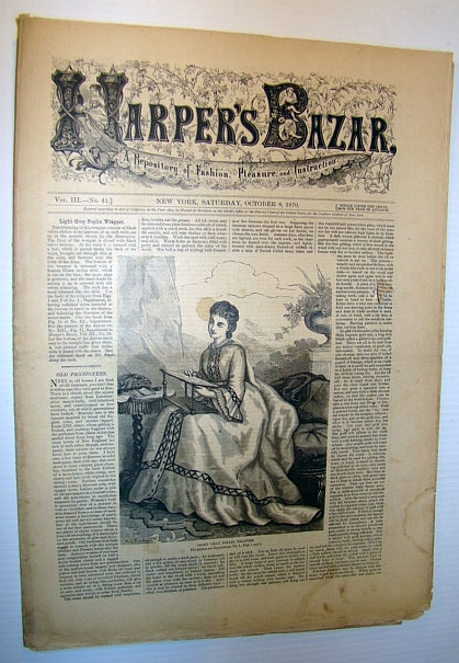 Image for Harper's Bazar (Bazaar) Magazine, October 8, 1870 - A Repository of Fashion, Pleasure, and Instruction