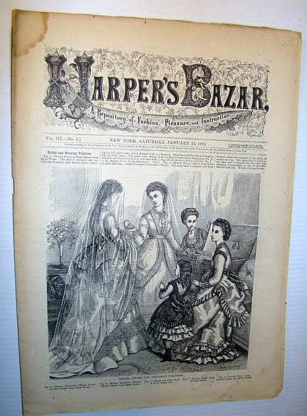 Image for Harper's Bazar (Bazaar) Magazine, January 15, 1870 - A Repository of Fashion, Pleasure, and Instruction