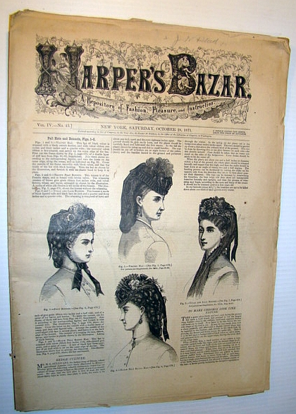Image for Harper's Bazar (Bazaar) Magazine, October 28 1871 - A Repository of Fashion, Pleasure, and Instruction
