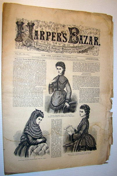 Image for Harper's Bazar (Bazaar) Magazine, November 25, 1871 - A Repository of Fashion, Pleasure, and Instruction