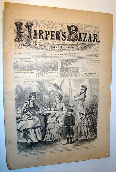 Image for Harper's Bazar (Bazaar) Magazine, 22 July, 1871 - A Repository of Fashion, Pleasure, and Instruction