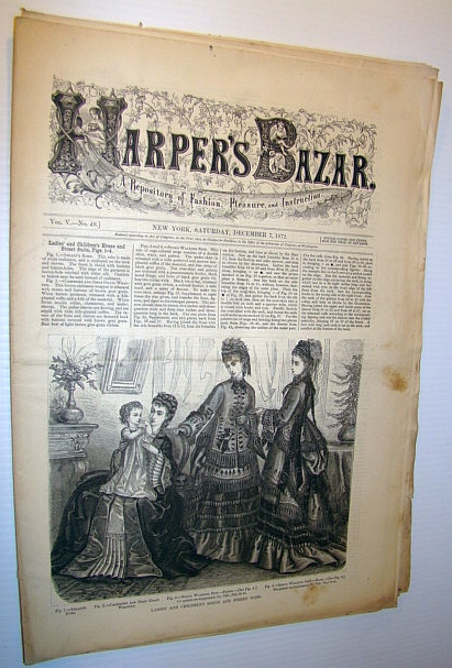Image for Harper's Bazar (Bazaar) Magazine, December 7, 1872 - A Repository of Fashion, Pleasure, and Instruction