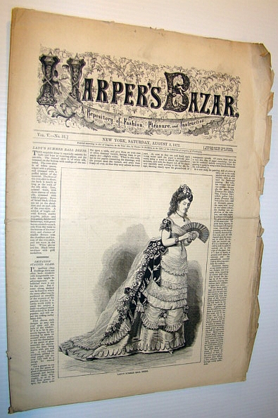 Image for Harper's Bazar (Bazaar) Magazine, August 3, 1872 - A Repository of Fashion, Pleasure, and Instruction