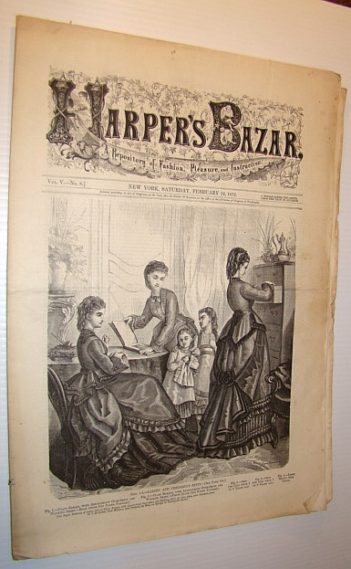 Image for Harper's Bazar (Bazaar) Magazine, February 24 1872 - A Repository of Fashion, Pleasure, and Instruction