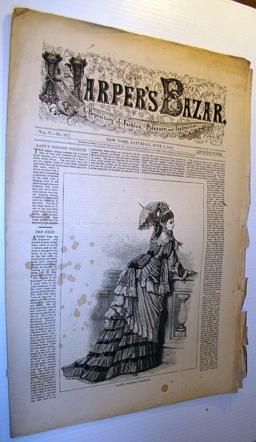 Image for Harper's Bazar (Bazaar) Magazine, June 8, 1872 - A Repository of Fashion, Pleasure, and Instruction
