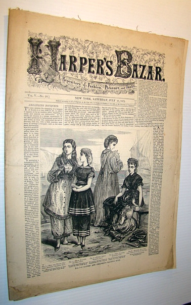 Image for Harper's Bazar (Bazaar) Magazine, July 13, 1872 - A Repository of Fashion, Pleasure, and Instruction